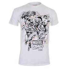 Marvel Men's Band of Heroes Short Sleeve T-shirt White Medium