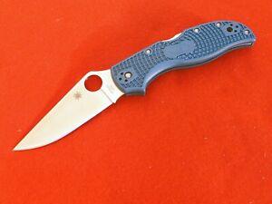 """SPYDERCO Japan Stretch Blue Lockback, 3.43"""" Bohler K390 Stainless knife"""