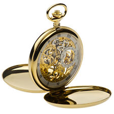 Jean Pierre Gold Plated Double Hunter Full Skeleton Pocket Watch, ref G250PM