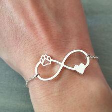 Bracciale donna infinito love zampa cuore pet cane gatto color argento regalo