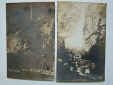 Firefall & Bridal Veil Falls Yosemite National Park Photograph Postcards 1930's