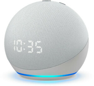 Amazon Echo Dot 4th Generation Smart Speaker with Clock and Alexa- Glacier White
