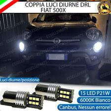 COPPIA LAMPADE DIURNE POSIZIONE DRL 15 LED P21W CANBUS FIAT 500X 6000K NO ERRORE