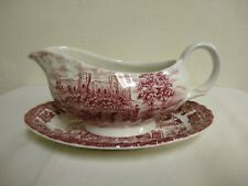 Johnson Brothers Olde Country Castles Red Gravy Boat & Plate