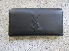 NIB YSL Yves Saint Laurent Belle De Jour Zip Around Leather Wallet, black