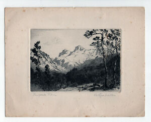 Langdale Pikes, Lake District, Cumbria, Signed etching by Bernard Eyre Walker