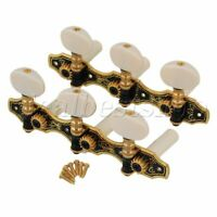 2 Pieces 3 On Plate 1L1R Beige Heads Black Tuning Pegs for Classic Guitar