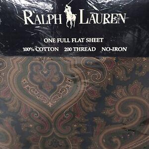 NIP RALPH LAUREN Elizabeth Paisley Blue Green Full Flat Sheet Blue Label New