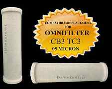 (2) OMNIFILTER CB3 TC3 COMPATIBLE REPLACEMENT CARBON BLOCK WATER FILTERS