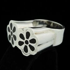 Monumental Martha Vargas Mexico Wood Inlay Sterling Ring