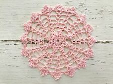 16 CM NEW LIGHT PINK  CROCHET LACE DOILY