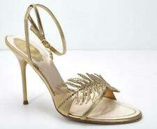 d3d6e1c25a2ca RENE CAOVILLA Gold Leather HighHeel Crystal-Leaf Strappy Sandal Pump Shoe  10-40
