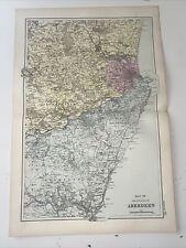 c1889 Aberdeen British Isles Map Bacon Antique Vgc