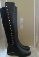 MICHAEL KORS Bromley Flat Star Studs Leather Riding Boots Shoes US 8 EU 38.5 NWB