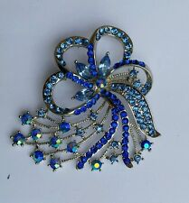 Flower Brooch Cake Pin Stunning Silver Plated Blue Rhinestones