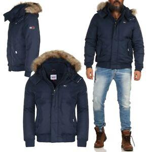Tommy Jeans Tech Bomber Herren Jacke warme Winterjacke Jacket TJM Hooded Blau