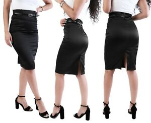 women Plain black satin stretch midi pencil skirt size  8 12 14 16 18 STN