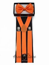 NEW Mens and Women Combo Suspender + BowTie -  ORANGE