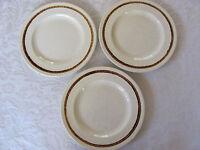 Homer Laughlin -Oatmeal Pattern-Speckled  & Brown Band on Rim - 3 Dinner Plates