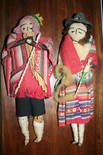 """Set of 2 Vintage 1960s Peru Peruvian 11"""" Dolls in Ethnic South American Clothing"""