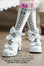 Lolita Baby Doll Bow Maid Scalloped Heel shoes pump 42 white 9972