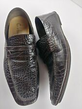 Cole Haan Men's Size 9M Brown Leather Crocidile Pattern Loafers Slip On Shoes