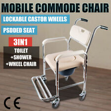 Mobile Shower Toilet Commode Chair Wheelchair Bathroom Bedside Footrest AU