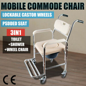 New Mobile Shower Toilet Commode Chair Wheelchair Bathroom Bedside Footrest AU