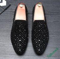 New Fashion Men's Slip On Loafers Rhinestones Pointy Toe Nightclub Dress Shoes #
