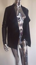 Ted Baker London Hazie Black Boiled Wood Wrap Open Jacket With Leather Trim Sz 1
