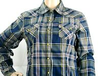 Cruel Girl Cowgirl Rodeo Western Shirt Top Sz M Women Blue Multi-colored Plaid