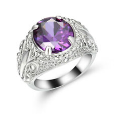 SZ 8 Jewelry Mens Amethyst 10K white Gold Filled Fashion Engagement flower Ring