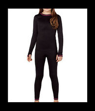 Cuddl Duds Chill Chasers Girls S 6 6X Black Polyester 2 Piece Warm Baselayer Set