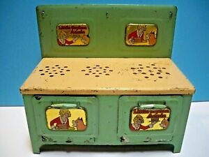 VINTAGE 1930's LITTLE ORPHAN ANNIE 3 BURNER METAL NON-ELECTRIC PLAY STOVE/OVEN