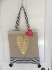 Large Shopper Tote Beach Bag Natural with Stripes and Gold Heart by Artebene