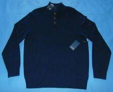NWT DANIEL HECHTER PARIS  100% Cashmere Sweater 4 Button Navy Blue  Large