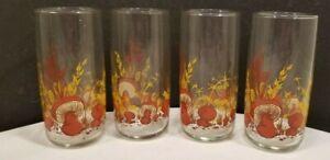 Set of 4 Anchor Hocking MUSHROOM Pattern Tumblers Drinking Glasses 16oz