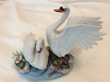 Porcelain White Swans On Water Flowers Figurine 9x8x5
