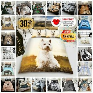 ANIMAL DUVET COVER SET Reversible Quilt Covers Single Double King Size Bedding