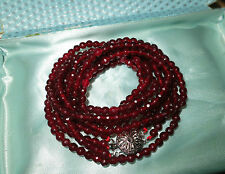 Lovely sparkly knotted 5mm faceted genuine garnet 3 strand necklace