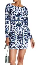 NWT $148 Vince Camuto Printed Long Sleeve Lined Shift Dress Blue White Size 4