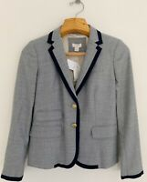 NWT J.CREW Women Wool Blend Jacket Blazer 2 Gray Navy Blue 2-Button #A8972