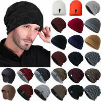 Mens Knitted Woolly Slouch Beanie Hats Winter Warm Outdoor Casual Ribbed Caps