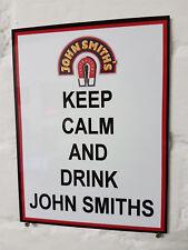Keep Calm Y Bebida John Smiths Metal Aluminio signo amargo Pub Bar Cerveza signos