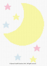 Crochet Patterns -  MOON and STARS - BABY Color Graph Pattern