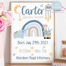 Personalised Baby Print - Boys Nursery Gifts - Birth Stats, Cute Animal Rainbow