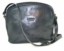 FLORENCE BLACK GENUINE LEATHER EVENING SHOULDER HANDBAG MADE IN ITALY