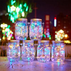 1-6x Solar Powered LED Fairy String Lights Mason Jar Lid Lamp Garden Party Decor
