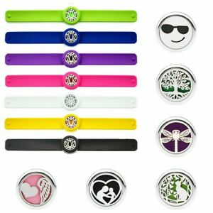 25mm Alloy Kids Adjustable Essential Oil Diffuser Bracelet Silicone Wristband