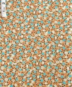 3+ yds Vintage Blue,White,Brown Floral Print,Tan Cotton Fabric,Quilting,Crafts